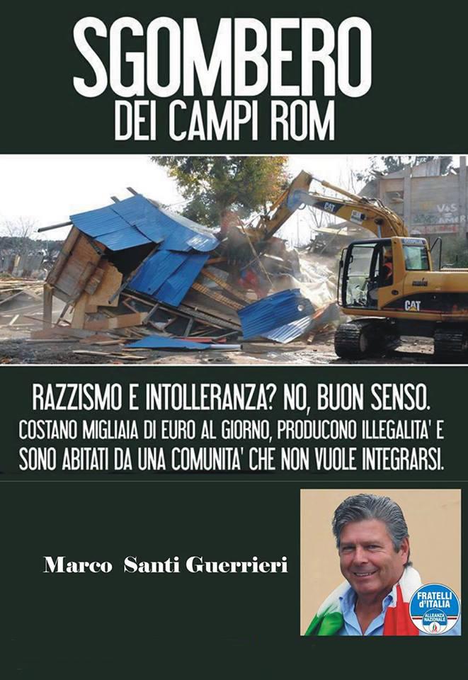 Santi Guerrieri,Chiudere il Campo ROM delle Tagliate e di Via della Scogliera. Marco Santi Guerrieri dal 2012 in prima linea