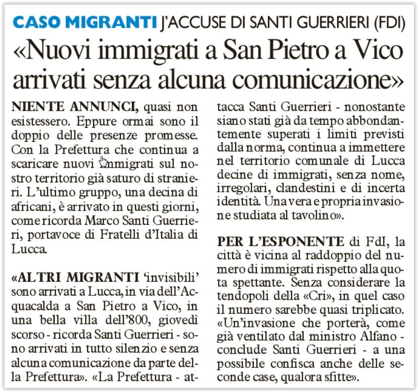 #santiguerrieri nuovi migranti a Lucca