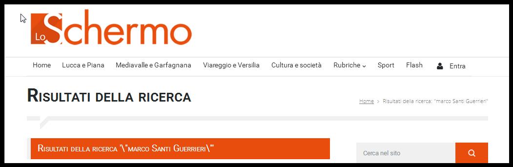 Comunicati Marco Santi Guerrieri su lo Schermo Lucca